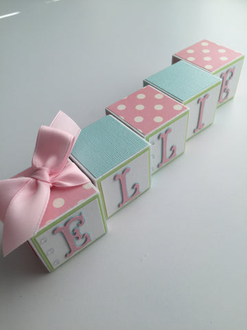 Baby Name Blocks - Pink Light Aqua Green