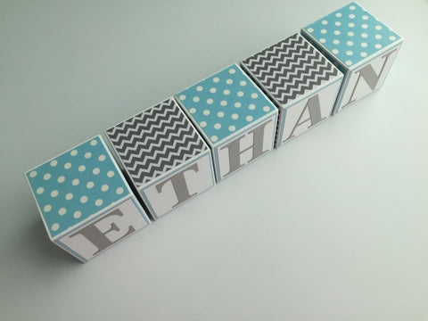 Baby Name Blocks - Blue Gray