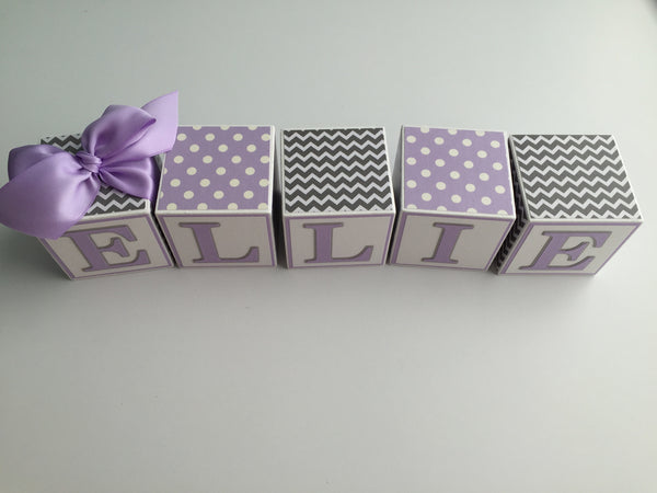 Baby Name Blocks - Lavender Gray