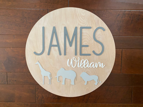 Nursery Name Sign Safari Animals Round Wooden Sign