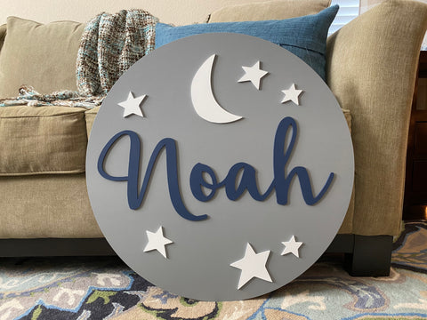 Baby Name Sign Stars and Moon Round Wood Sign