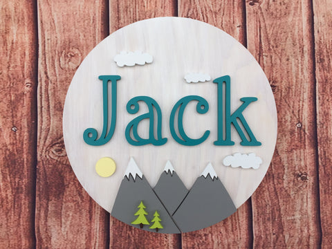 Round Wood Name Sign