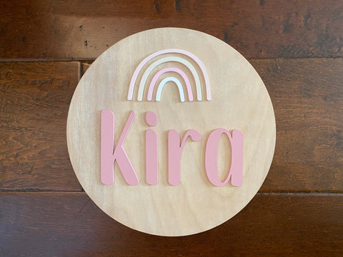 Nursery Name Sign Rainbow Round Wooden Sign