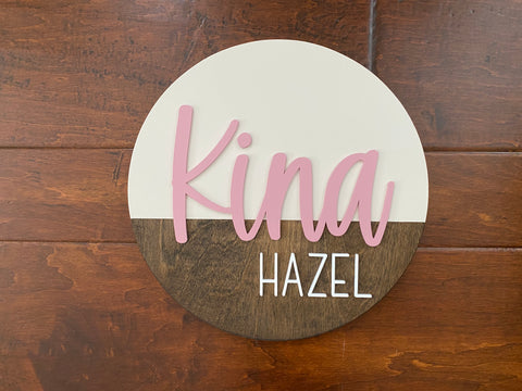 Nursery Name Sign for a Baby Girl Round Wooden Sign