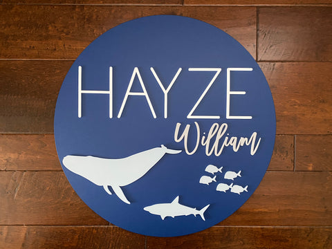 Name Sign for Nursery with Ocean Animals