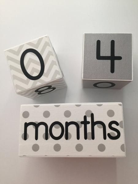 Baby Age Blocks - Gray White