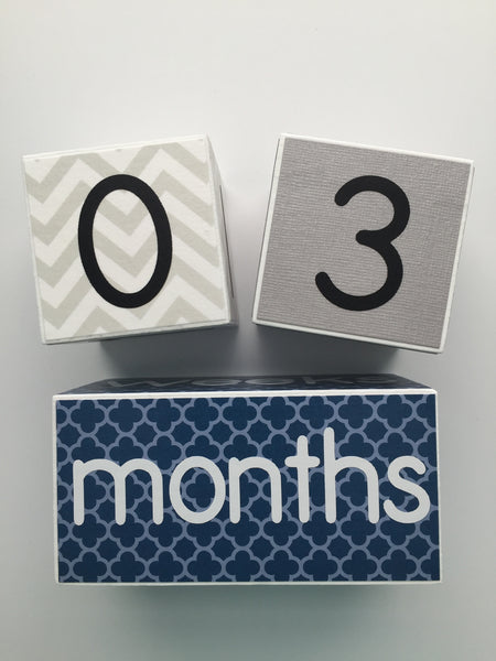 Baby Age Blocks - Blue Gray