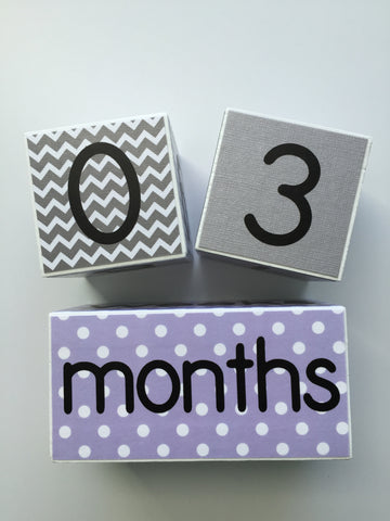 Baby Age Blocks - Lavender Gray