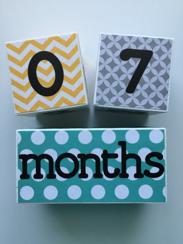 Baby Age Blocks - Gray Yellow Teal