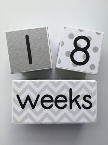 Baby Age Blocks - White Gray