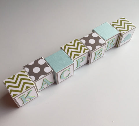 Baby Name Blocks - Green Gray Light Aqua