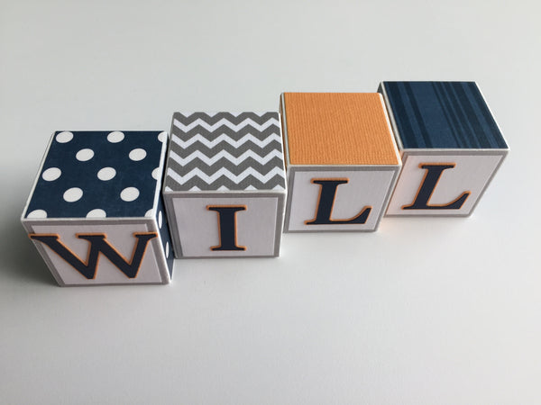 Baby Name Blocks - Navy Orange Gray