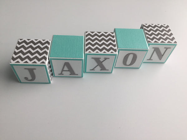 Personalized Baby Name Blocks - Baby Name Sign - Nursery Decor - Baby Boy - Aqua Gray
