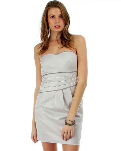 Carbon Beach Grey Strapless Cocktail Dress
