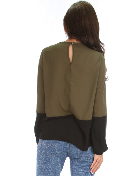 Paseo Canyon Two-Tone Long Sleeve Blouse {multiple colorways}