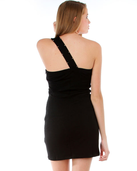 Pinnacle Black One Shoulder Circle Studded Dress