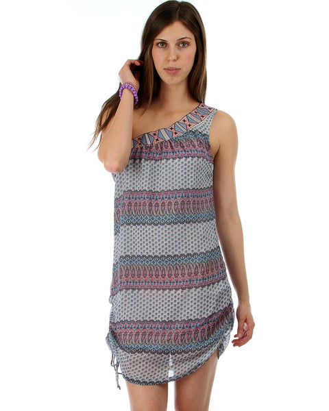 Solstice Canyon One Shoulder Pattern Dress