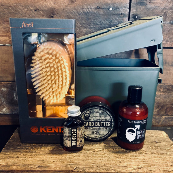 Kent beard brush with Fresh Beards beard oil, beard butter, and beard wash