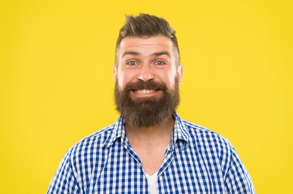 happy, smiling bearded man