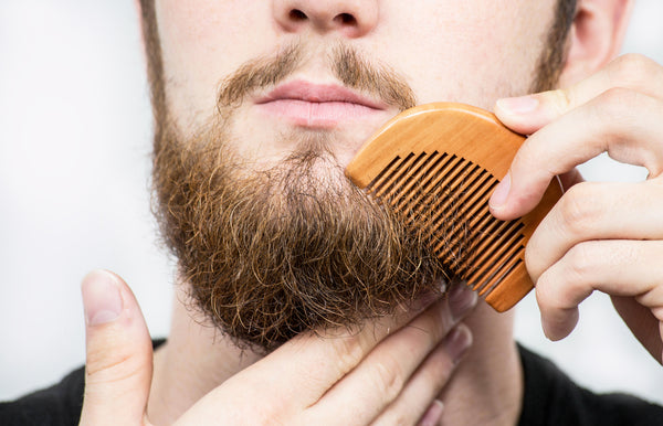 closeup man combing full beard