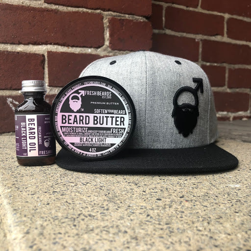 Fresh Beards hat, beard oil, and beard butter