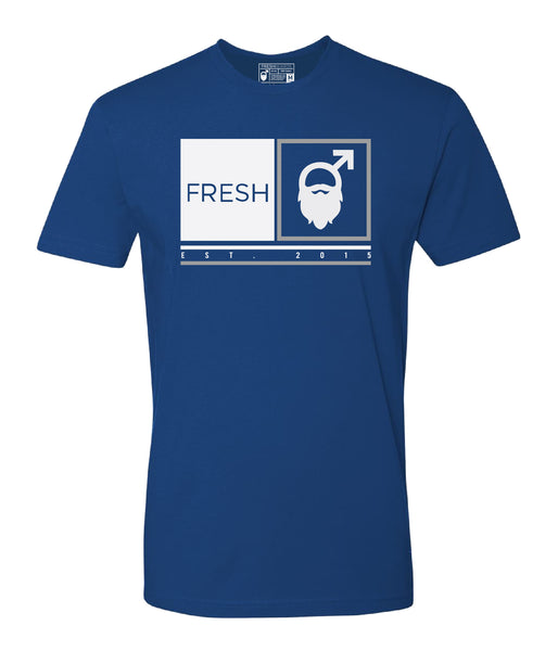 Fresh Beards Framed Logo T-shirt (Royal Blue)