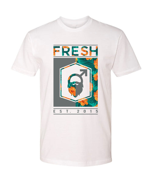 Fresh Beards Beach Blend Inspired Logo T-shirt (White)
