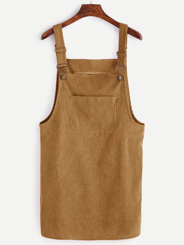 Corduroy Pinafore Dress - Tan