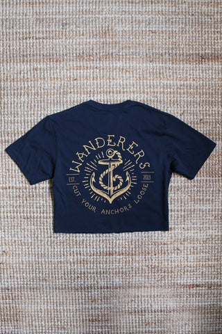 Anchors Crop - Navy