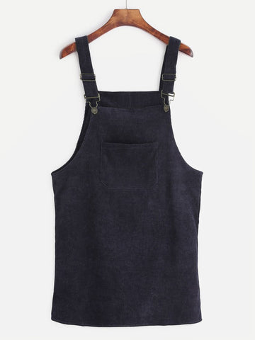 Corduroy Pinafore Dress - Black