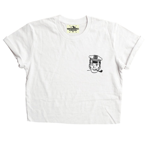 Salty Sea Dogs Crop - White