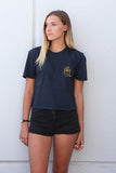 Salty Sea Dogs Crop - Navy