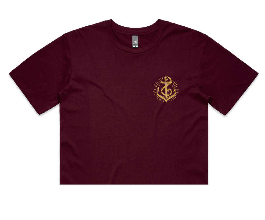 Anchors Crop - Burgundy
