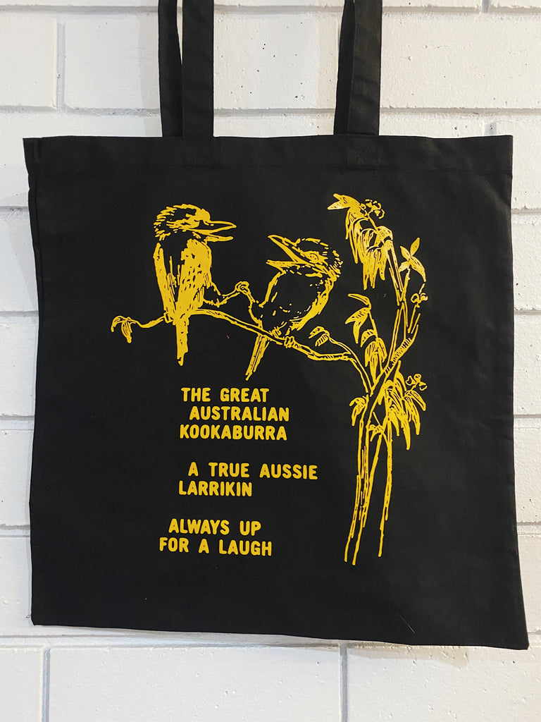 Kookaburra Black Tote Bag