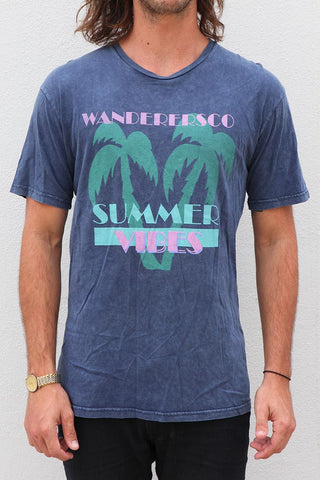 Summer Vibes Tee - Navy Acid