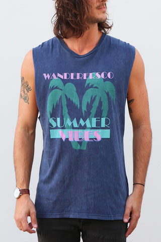 Summer Vibes Muscle - Navy Acid