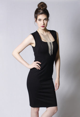 Seamed Ponte De Roma Dress