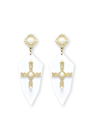 Blessed Me Earrings | White - Veronique Boutique