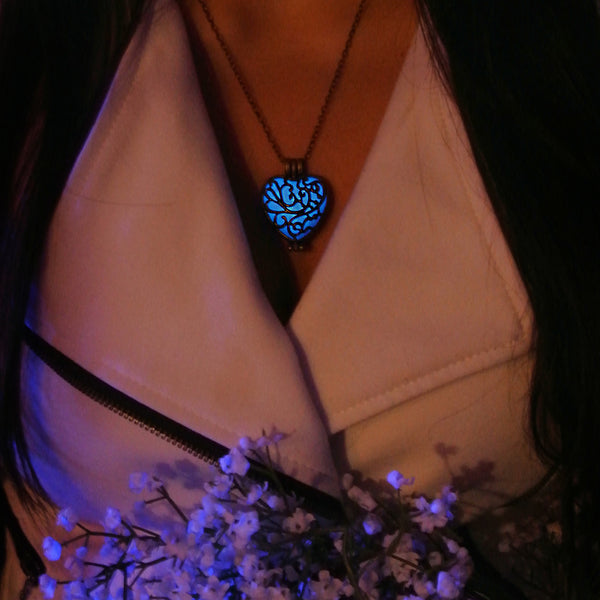 Puzzled Heart - Blue - www.CuteGlow.com Glow in the dark jewelry