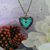 Gold Heart - Turquoise - www.CuteGlow.com Glow in the dark jewelry
