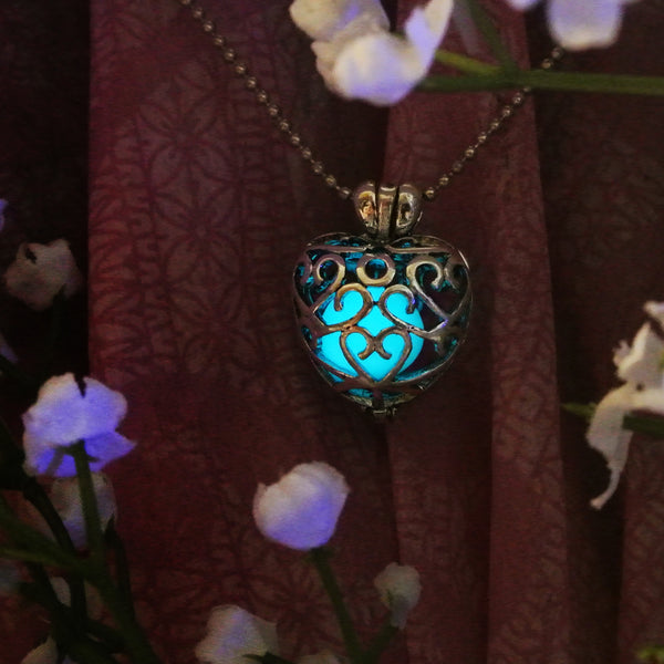 Zelda Heart - Turquoise - www.CuteGlow.com Glow in the dark jewelry