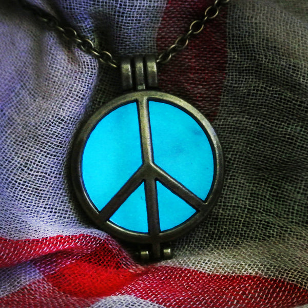 Peace Sign - Turquoise - www.CuteGlow.com Glow in the dark jewelry