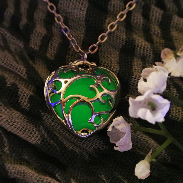 Loving Heart Swirl - Dark Green - www.CuteGlow.com Glow in the dark jewelry
