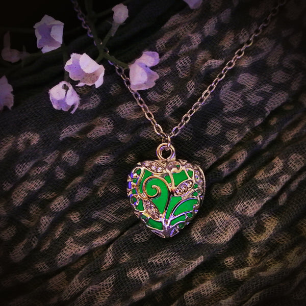 The Tiny Loving Heart - Dark Green -  www.CuteGlow.com Glow in the dark jewelry