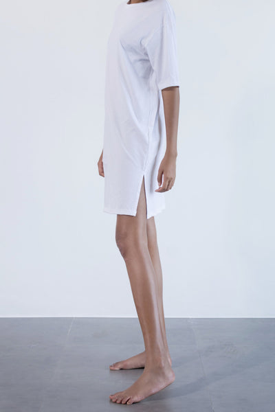 Split boxy tee dress white