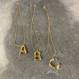 solid initial letter necklace