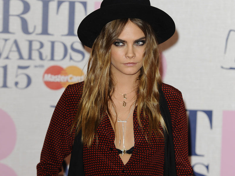 Cara Delevingne and her VIKA jewels horizontal stick necklace stick bodychain recycled sterling silver