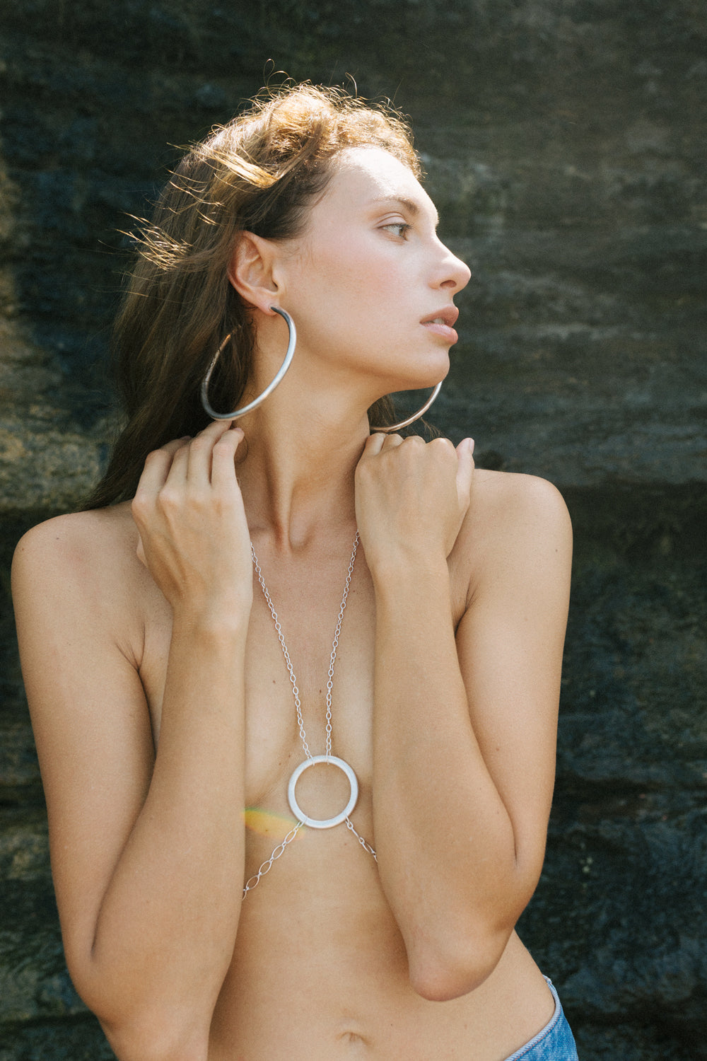 Model and Artist Ksenia Senko with VIKA jewels recycled sterling silver jewelry jewellery sustainable ethical handmade in Bali photographer Arina Emelyanova
