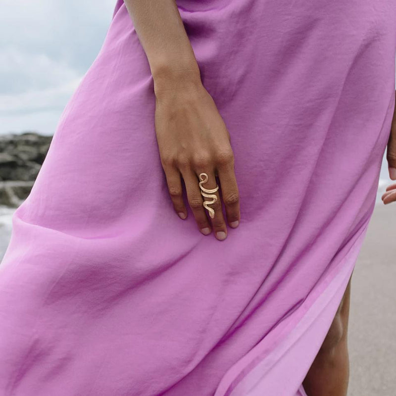 VIKA jewels Schlange Snake ring recycled sterling silver silber gold plated 24 carat vergoldet handmade handgemacht bali