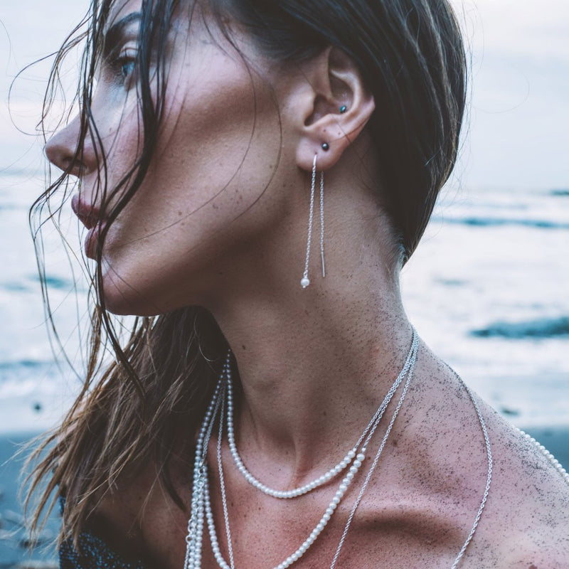 VIKA jewels Pearl Perle Earrings Kette Chain Ohrringe recycled recycling sterling silber silver handmade handgemacht Bali fashion jewels jewelry schmuck Photographer jason Repo Reposar